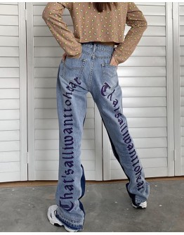 FREE SHIPPING EMBROIDERY REGULAR HIGH JEANS