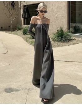 FREE SHIPPING LADIES OFF-THE-SHOULDER MAXI JUMPSUIT