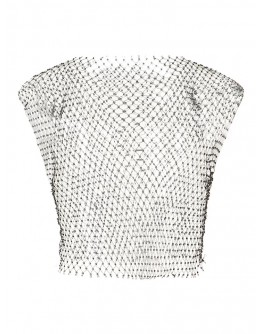 LADIES FAUX DIAMOND SHORT VEST