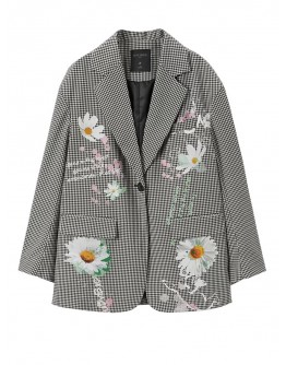 LADIES FLORA PATTERN LOOSE COAT