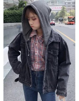 【GS】FREE SHIPPING LADIES DENIM JACKET WITH DETACHABLE HOOD
