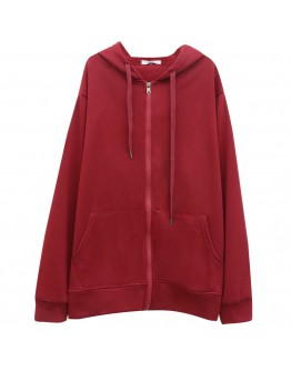 LADIES BASIC ZIPPER HOODIE JACKET