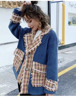 LADIES FAUX CASHMERE CHECKERED COAT