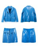 LADIES EMBROIDER LOOSE COAT / FAUX LEATHER ZIPPER FITTED SKIRT
