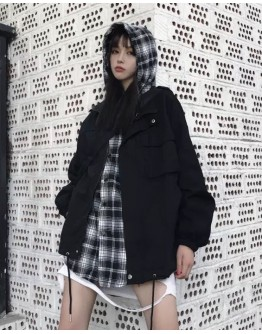 UNISEX FALSE-TWO PATTERED CHECKERED HOODIE JACKET