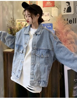 FREE SHIPPING LADIES LOOSE LONGER-SLEEVED DENIM JACKET