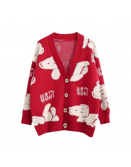 FREE SHIPPING LADIES BEAR KNITTED JACKET