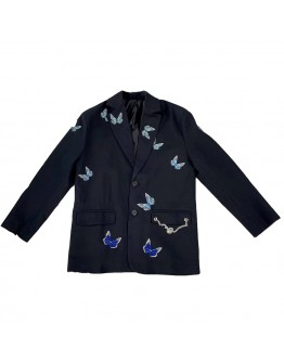 FREE SHIPPING LADIES EMBROIDER BUTTERFLY LONG-LINE COAT