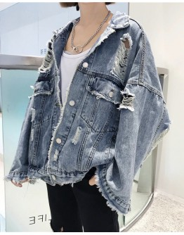 FREE SHIPPING LADIES DISTRESSED OVER-SIZE DENIM JACKET