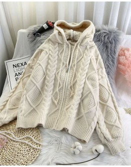 FREE SHIPPING LADIES ZIPPER HOODIE KNITTED JACKET