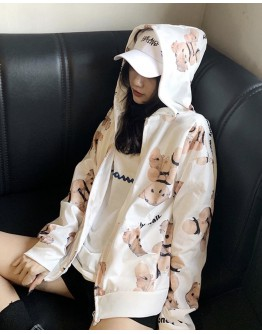 FREE SHIPPING LADIES BEAR PATTERNED ZIPPER HOODIE JACKET