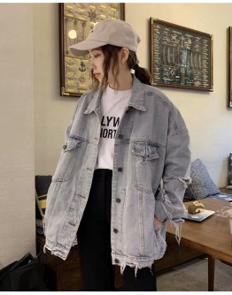 FREE SHIPPING LADIES DISTRESSED LOOSE DENIM JACKET