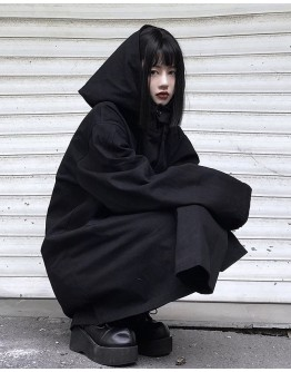 FREE SHIPPING UNISEX HOODIE OVER-SIZE LONG-LINE JACKET