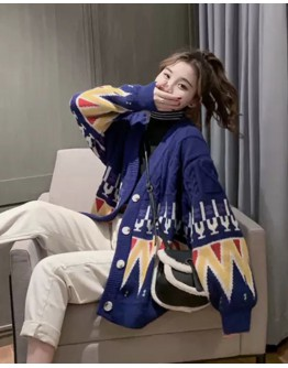 FREE SHIPPING LADIES OVER-SIZE KNITTED PATTERNED JACKET