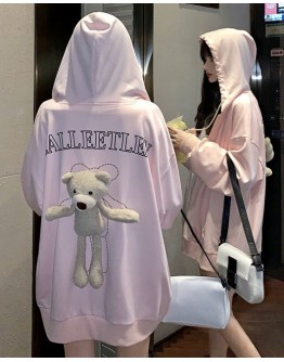 FREE SHIPPING LADIES BEAR TOYS ZIPPER HOODIE JACKET