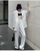 FREE SHIPPING CUT-OUT VEST/ LOOSE THIN COA/ LOOSE PANTS