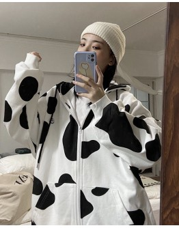 FREE SHIPPING LADIES OVER-SIZE COW PATTERNED ZIPPER JACKET