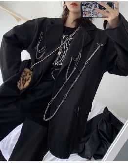 FREE SHIPPING LADIES LOOSE CHAIN PINS POLYESTER COAT