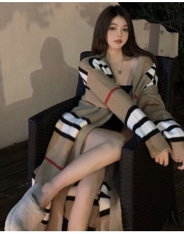 FREE SHIPPING LADIES KNITTED STRIPE OVER-SIZE COAT