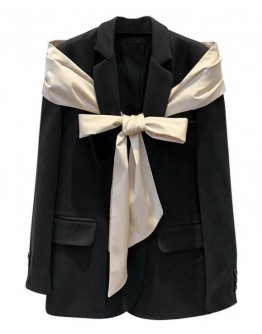 FREE SHIPPING BOWKNOT PATTERED COAT