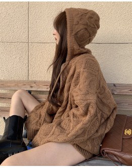 FREE SHIPPING THICK HOODIE ZIPPER KNIT JACKET