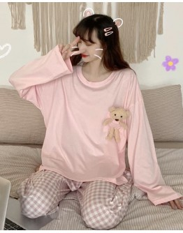 LADIES LONG-SLEEVED BEAR PAJAMAS TOPS / PAJAMAS TROUSERS