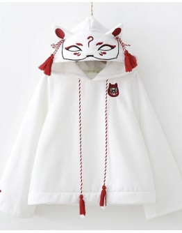 LADIES EMBROIDER FOX HOODIE SWEATER