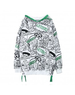 FREE SHIPPING LADIES CARTOON OVER-SIZE HOODIE SWEATER