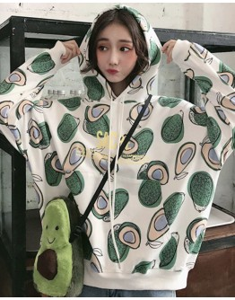 FREE SHIPPING AVOCADO PATTERED HOODIE THIN SWEATER