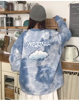 FREE SHIPPING LADIES RESIST DYED CLOUD PRINT SWEATER