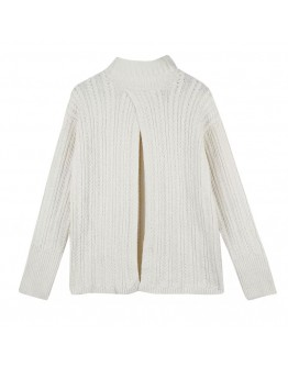 FREE SHIPPING CUT-OUT TURTLENECK KNITTED SWEATER