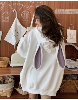 FREE SHIPPING RABBIT EAR PATTERN HOODIE THIN SWEATER