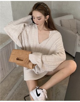 FREE SHIPPING V-NECK KNITTED LOOSE-SLEEVED TOPS