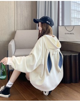 FREE SHIPPING LONG-LINE RABBIT EAR PATTERED HOODIE SWEATER