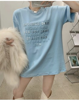 FREE SHIPPING LADIES 3D TEXT TOPS