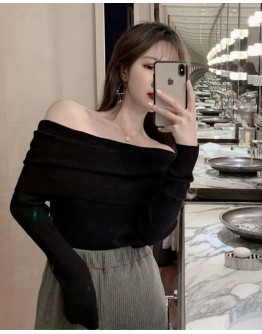 FREE SHIPPING OFF-THE-SHOULDER KNIT SHORT TOPS
