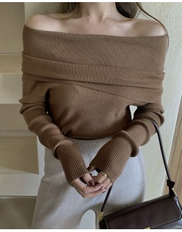 FREE SHIPPING OFF-THE-SHOULDER KNIT TOPS