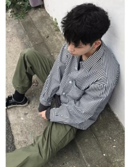 【GS】FREE SHIPPING UNISEX STRIPE BASIC SHIRT