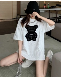 FREE SHIPPING LADIES TEXT BEAR LOOSE LONG-LINE TOPS