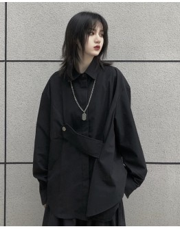 LADIES LOOSE LONG-LINE SHIRT