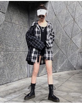 LADIES ASYMMETRICAL OVER-SIZE CHECKERED SHIRT