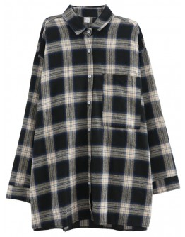 LADIES LONG-LINE OVER SIZE CHECKED ASH SHIRT