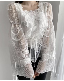 FREE SHIPPING FLORA LACE LOOSE LONG-SLEEVED TOPS