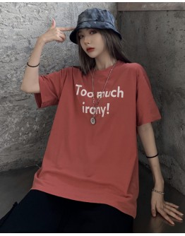 FREE SHIPPING TOO MUCH IRONY PRINT TOPS