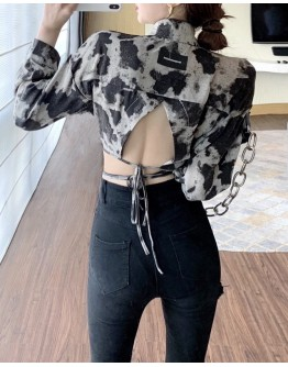 FREE SHIPPING BACKLESS LACE-UP LONG-SLEEVED SHIRT