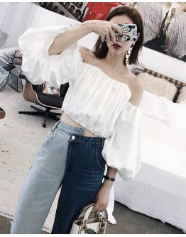 FREE SHIPPING LADIES OFF-THE-SHOULDER SHORT TOPS