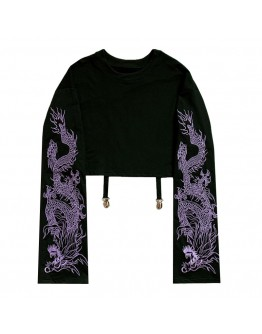 FREE SHIPPING LADIES EMBROIDER DRAGON LONG-SLEEVED TOPS