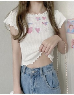 FREE SHIPPING HEART EMBROIDER SHORT TOPS