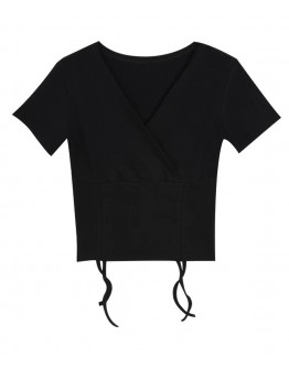 FREE SHIPPING LADIES LACE-UP SHORT V-NECK TOPS