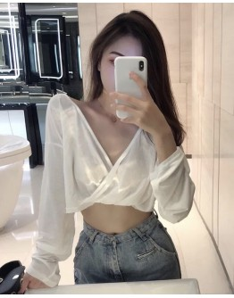 FREE SHIPPING LADIES V-NECK BACKLESS LONG-SLEEVED TOPS